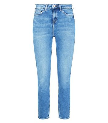Blue Distressed Relaxed Skinny Leyla Jeans New Look
