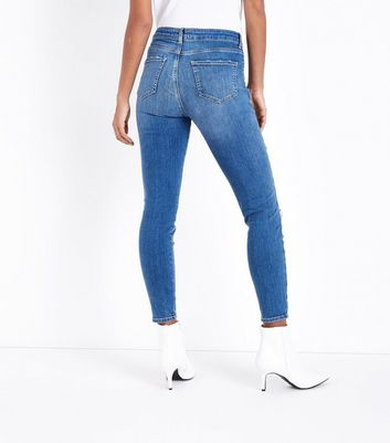 Blue Gem Embellished Ripped Skinny Jenna Jeans New Look