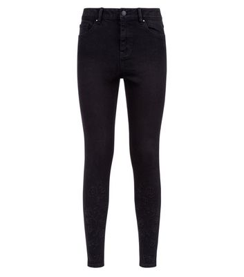 Black Gem Studded High Waist Super Skinny Hallie Jeans New Look