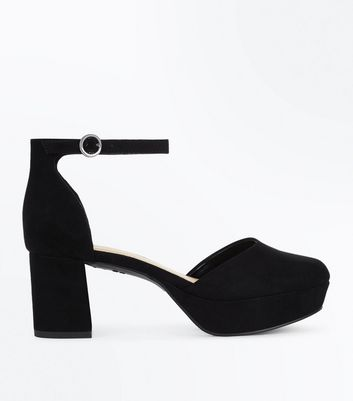 Girls Black Suedette Platform Heels