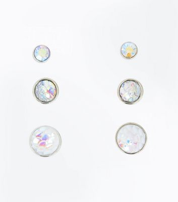 3 Pack Silver Iridescent Gem Stud Earrings New Look
