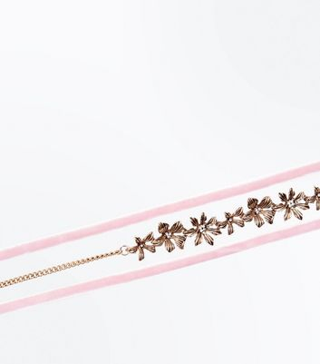 Pink Floral Velvet Trim Layered Choker New Look