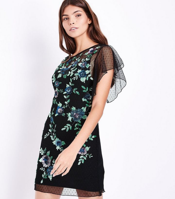 67c188daa4b1 Black Premium Floral Sequin Embellished Dress