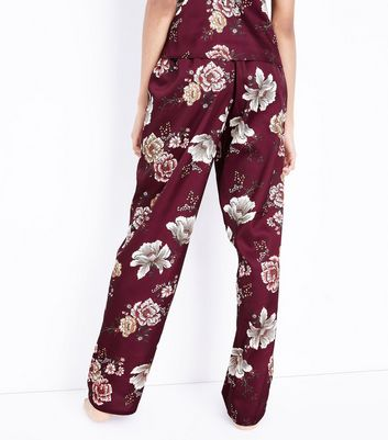 Tall Burgundy Velvet Trim Satin Pyjama Trousers New Look