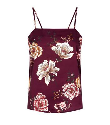 Petite Burgundy Floral Satin Cami Pyjama Top New Look