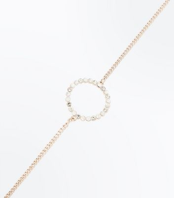 Rose Gold Embellished Ring Choker New Look