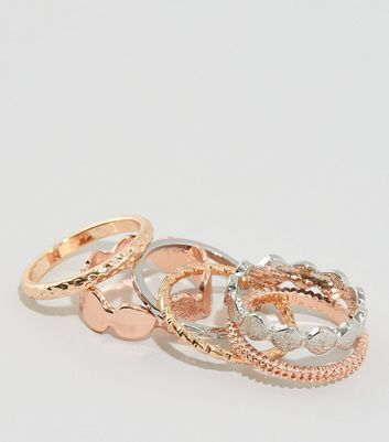 6 Pack Metallic Ring Stack New Look