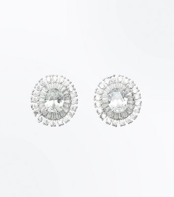Silver Cubic Zirconia Circular Stud Earrings New Look