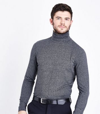 Grey Marl Roll Neck Long Sleeve Top New Look