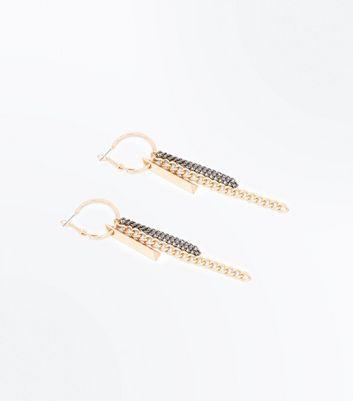 Gold Chain Hoop Earrings New Look