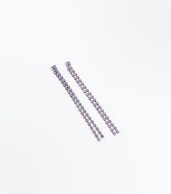 Purple Gem Stone Drop Earrings New Look
