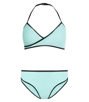 Teens Mint Green Wrap Front Bikini New Look