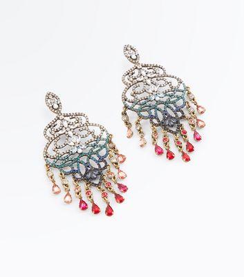Silver Ombre Gem Chandelier Earrings New Look