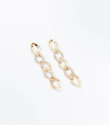 Gold Embellished Twisted Chain Earrings New Look