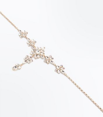 Gold Gem Embellished Flower Drop Necklace New Look