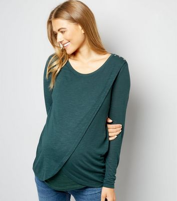 Maternity Green Wrap Front Long Sleeve Nursing Top New Look