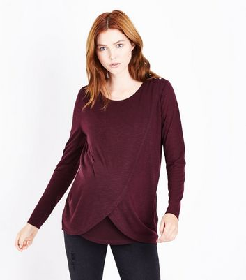 Maternity Burgundy Wrap Front Nursing Top New Look