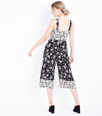 Petite Black Floral Culotte Jumpsuit New Look