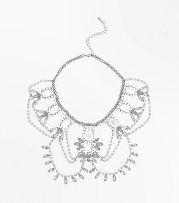 Silver Multi Gem Embellished Drape Necklace New Look