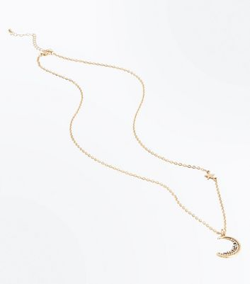 Gold Embellished Moon Star Pendant Necklace New Look
