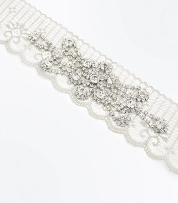 Grey Lace Embellished Wide Choker New Look