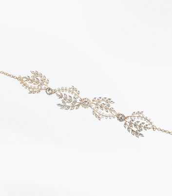 Gold Embellished Leaf Choker New Look
