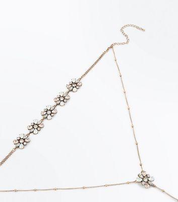 Gold Gem Flower Layered Choker Necklace New Look