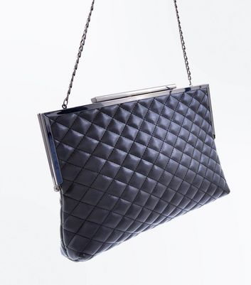 Black Quilted Oversized Clutch Bag New Look