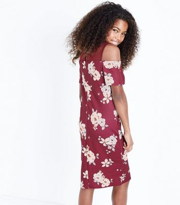 Teens Red Floral Print Mesh Cold Shoulder Dress New Look