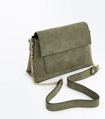 Khaki Foldover Structured Cross Body Bag New Look