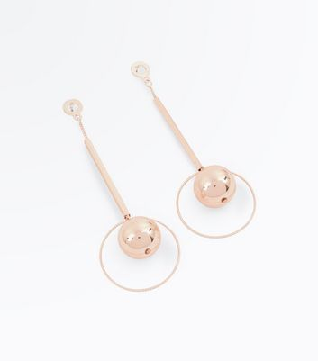 Rose Gold Stick Orb Drop Earrings New Look