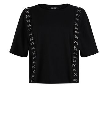 Teens Black Hook and Eye Trim T-Shirt New Look