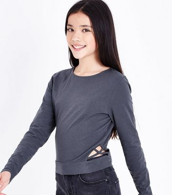 Teens Dark Grey Lattice Side Top New Look