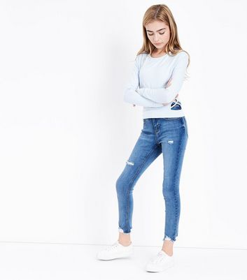 Teens Pale Blue Lattice Side Top New Look