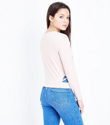 Teens Shell Pink Lattice Side Top New Look