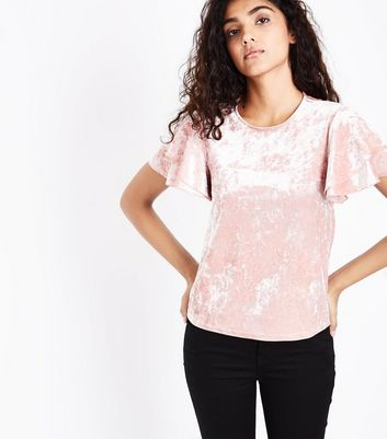 Pink Velvet Tiered Sleeve Top New Look