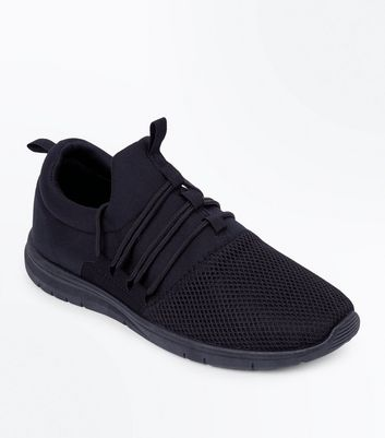 Black Lace Up Runner Trainers New Look