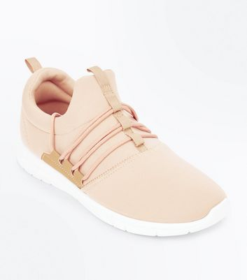 Stone Lace Up Runner Trainers New Look