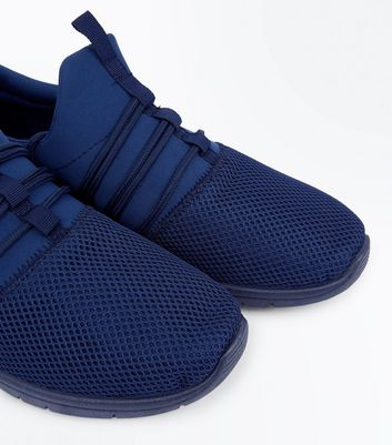 Navy Lace Up Runner Trainers New Look