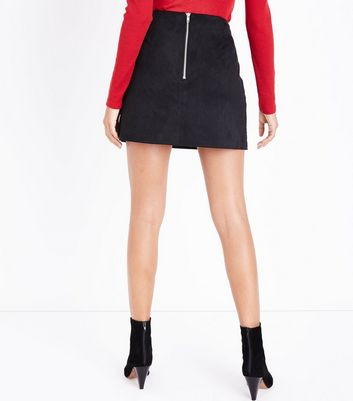 Petite Black Embroidered Suedette Mini Skirt New Look
