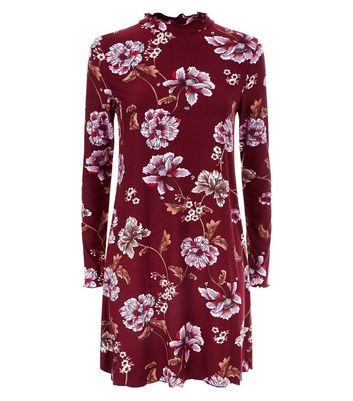 Red Floral High Neck Swing Dress New Look