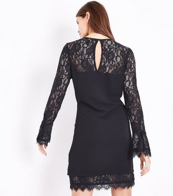 Black Lace Trim Bell Sleeve Tunic Dress New Look
