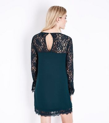 Green Lace Trim Bell Sleeve Tunic Dress New Look