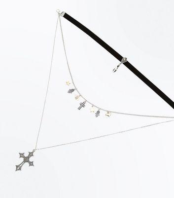 Silver Cross Pendant Layered Choker New Look