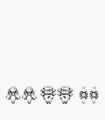 3 Pack Gem Embellished Geometric Stud Earrings New Look