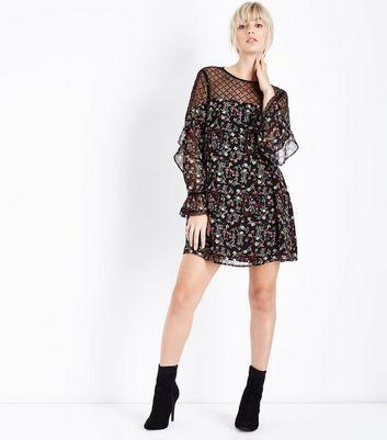 Black Floral Sequin Mesh Yoke Tunic Dress New Look