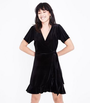 Black Velvet Frill Trim Wrap Dress New Look