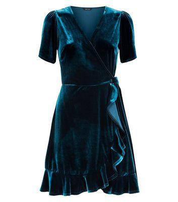 Dark Green Velvet Frill Trim Wrap Dress New Look
