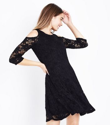 Blue Vanilla Black Lace Cold Shoulder Skater Dress New Look