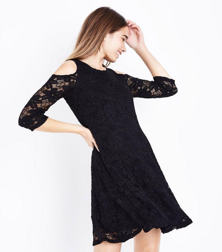 9812b7c0b5 Blue Vanilla Black Lace Cold Shoulder Skater Dress   New Look